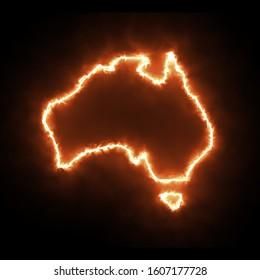 Australia Fire outline map on black background Fire in Australia wildfire bush-fire Map of Australia Fires