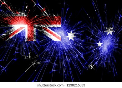Australia fireworks sparkling flag. New Year, Christmas and National day concept