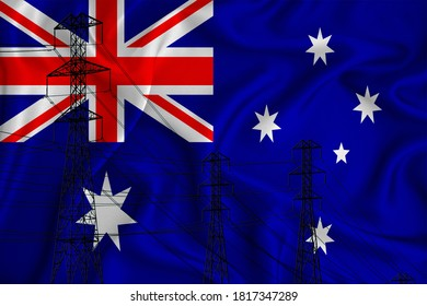 Australia flag in the background Conceptual illustration and silhouette of a high voltage power line in the foreground a symbol of the upcoming energy crisis. 3d rendering