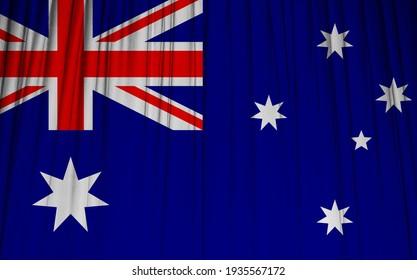 Australia flag on wavy drapery