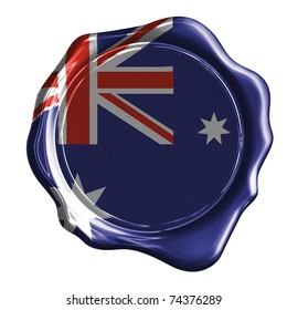 Australia flag on a wax stamp (clipping path)