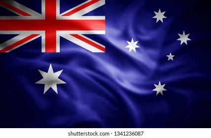 Australia flag of silk -3D illustration