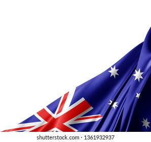 Australia flag of silk with copyspace for your text or images and white background -3D illustration
