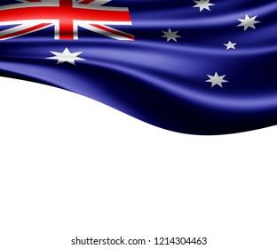 Australia flag of silk and white background-3D illustration