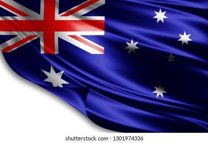 Australia flag of silk-3D illustration
