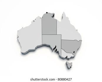 Australia gray 3D map on white isolated
