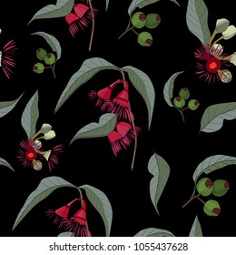 Australia gum nut and red flowers seamless pattern on black background