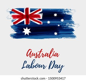 Australia Labour Day holiday. Abstract watercolor grunge brushed Australia flag.