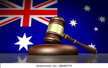 Australia laws, justice and legal system concept with a gavel and the Australian flag on background 3D illustration.
