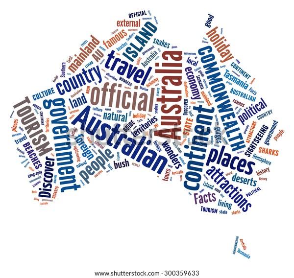 Australia Word Map.Australia Map Shape Word Cloud Arrangement Stock Illustration 300359633