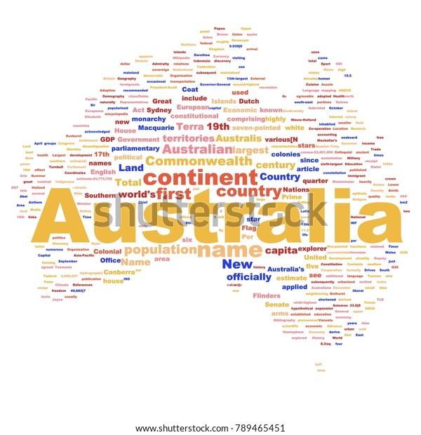 Australia Word Map.Australia Map Word Cloud Most Popular Stock Illustration 789465451