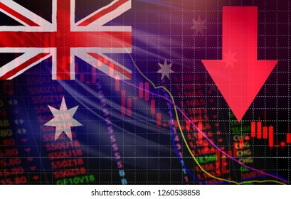australia market stock crisis red price arrow down chart fall / stock exchange analysis forex graph business finance money crisis losing moving down with australia flag