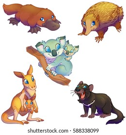 Australia marsupial animals set cartoon