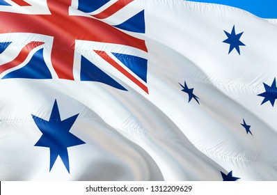 Australia naval ensign flag. 3D Waving flag design. The national symbol of Australia naval ensign, 3D rendering. The national symbol of Australia naval ensign background - Moscow 9 January 2019