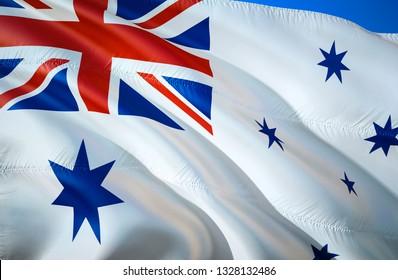 Australia naval ensign flag. 3D Waving flag design. The national symbol of Australia naval ensign, 3D rendering. Australia naval ensign 3D Waving sign design. Waving sign background wallpaper