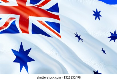 Australia naval ensign flag. 3D Waving flag design. The national symbol of Australia naval ensign, 3D rendering. National colors and National flag of Australia naval ensign for a background