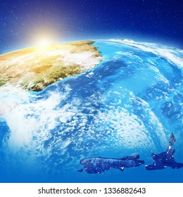 innovative design 5f12d 1459c Australia and New Zealand at night. Elements of this image furnished by NASA.  3d