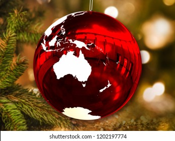Australia on shiny Christmas ball in shape of planet Earth hanging from Christmas tree. 3D illustration. Elements of this image furnished by NASA.