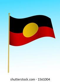 Australian aboriginal flag. Digital illustration. Gradients, warp.