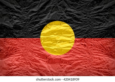 Australian Aboriginal flag pattern overlay on floyd of candy shell, vintage border style