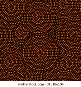 Australian aboriginal geometric art concentric circles seamless pattern in orange brown and black