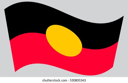 Australian Aboriginal official flag. Commonwealth of Australia patriotic symbol, banner, element, background. Correct colors. Australian Aboriginal flag waving on gray background
