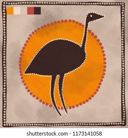 Australian Aboriginal styled dot painting artwork. An emu bird. Original digital illustration.