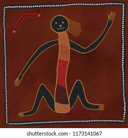 Australian Aboriginal styled dot painting artwork, person, human and boomerang. Original digital illustration.