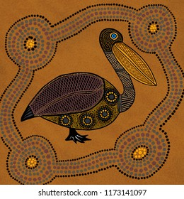Australian Aboriginal styled dot painting artwork. Pelican. Original digital illustration.