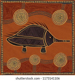 Australian Aboriginal styled dot painting artwork of an echidna. Original digital illustration.