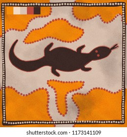 Australian Aboriginal styled dot painting artwork. A goanna lizard. Original digital illustration.