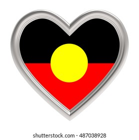 Australian Aborigines flag in silver heart isolated on white background. 3D illustration.