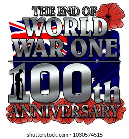Australian, ANZAC - The end of World War One. 100th anniversay banner. 1918 - 2018. Original design. With poppy flowers.