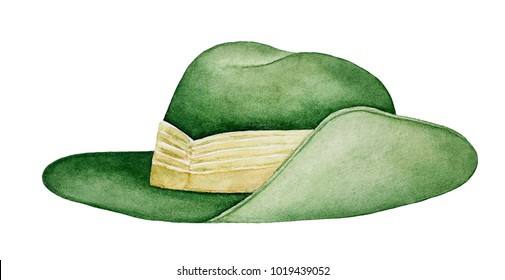 Australian Army Slouch Hat. National symbol, military uniform, parade hat. Khaki Fur Felt (KFF). Single object, closeup, side view. Hand drawn watercolour drawing on white background, isolate.