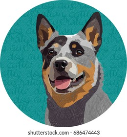 Australian cattle dog portrait illustration with round backdrop patterned