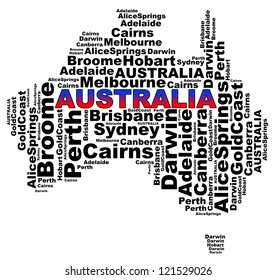 Australian Cities info text graphics and arrangement concept (word clouds) on white background