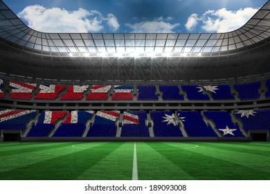 Australian flag against large football stadium