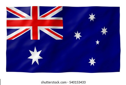 Australian flag blowing in the wind TEXTURED. Part of a set