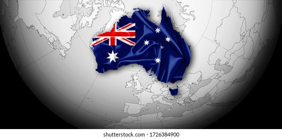 Australian flag of silk, world map and black background-3D illustration