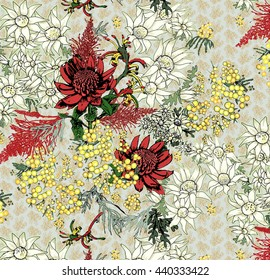 Australian native flowers in group. Red, yellow and white flowers scattered over patterned background of pastel blue. Waratah, flannel flower, wattle, kangaroo paw, grevillea. Seamless pattern.