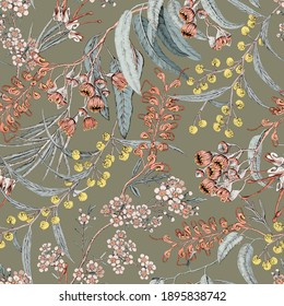 Australian native flowers. Seamless pattern black background. Botanical illustration.