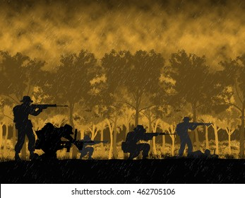 Australian soldiers in Vietnam. circa 1960's era. Set  against a mountain, jungle and flag background. Digital Illustration.