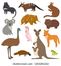 Australian wild animals cartoon collection australia popular animals like platypus, koala, kangaroo, ostrich set isolated on white background