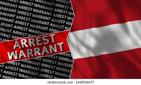 Austria and Arrest Warrant Titles Flag Together - 3D illustration Fabric Texture