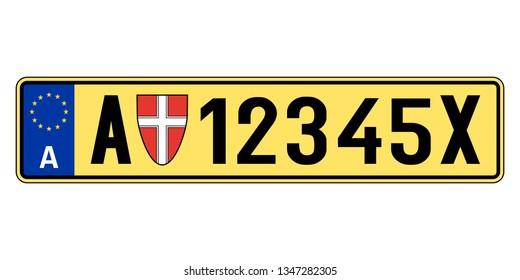 Austria car plate. Vehicle registration number