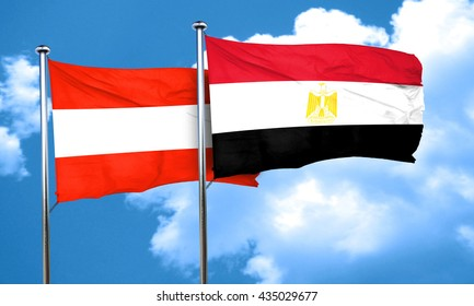Austria flag with egypt flag, 3D rendering