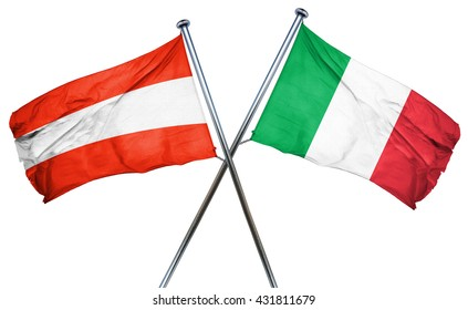 Austria flag with Italy flag, 3D rendering