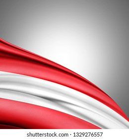 Austria flag of silk with copyspace for your text or images and white background-3D illustration