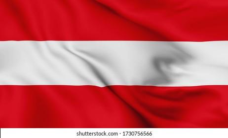 Die österreichische Flagge schwänzt 3D-Animation. Die österreichische Flagge windet im Wind. Nationale Flagge Österreichs, 3d-Darstellung