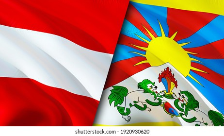 Austria and Tibet flags. 3D Waving flag design. Austria Tibet flag, picture, wallpaper. Austria vs Tibet image,3D rendering. Austria Tibet relations alliance and Trade,travel,tourism concept
